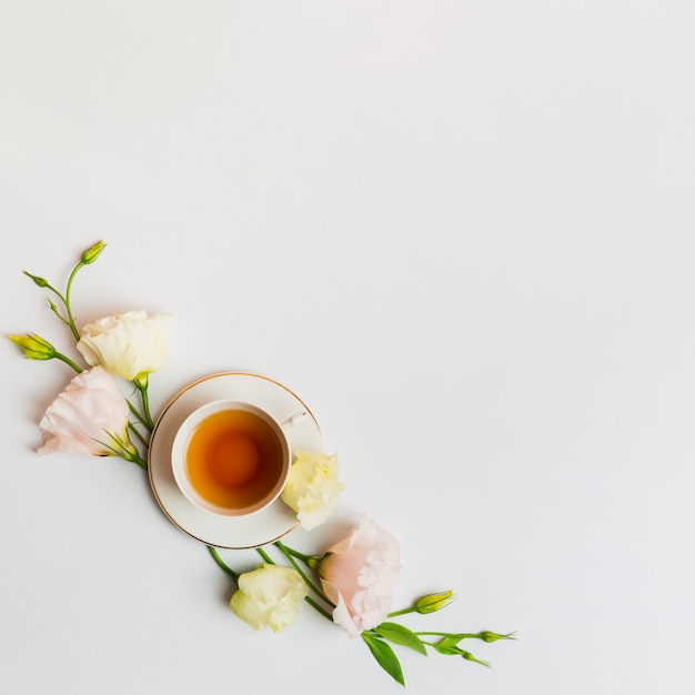 English tea on plain background