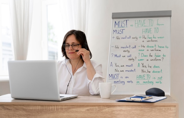 English teacher doing her lessons online at home