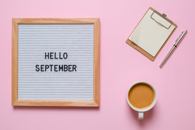 English text hello september on a letter board