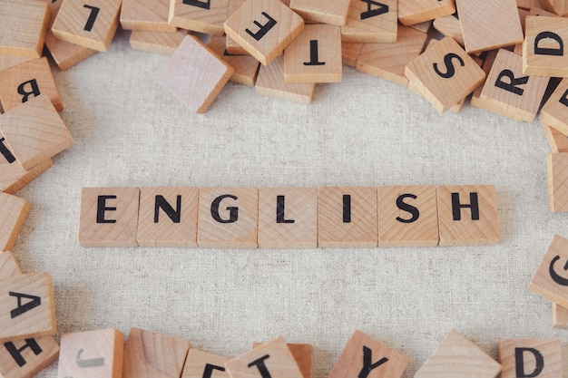 English word made of wooden blocks, learn english language concept