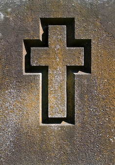 Engraved cross on a stone slab