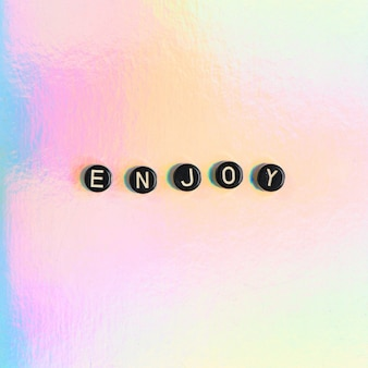 Enjoy word beads lettering typography