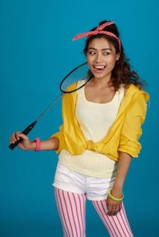 Enjoying badminton