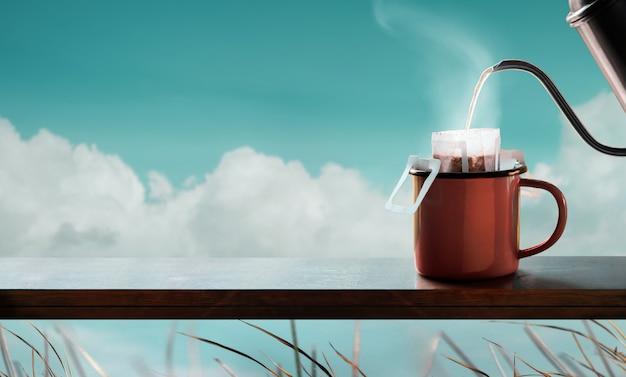 리버사이드에서 즐기는 커피 인스턴트 커피로 따뜻한 커피 만들기