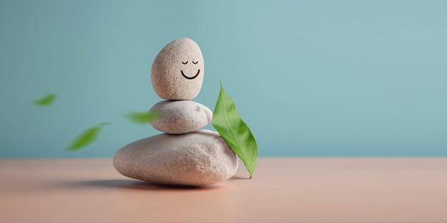 笑顔で安定した小石のライフハーモニーとポジティブマインドコンセプトスタックをお楽しみください