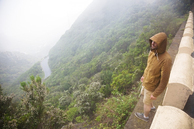 Enjoying mountain view