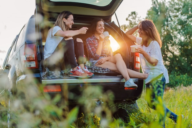 Enjoying the rest and socializing on a picnic trip with your best friends.