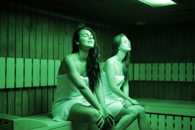 Enjoying a sauna