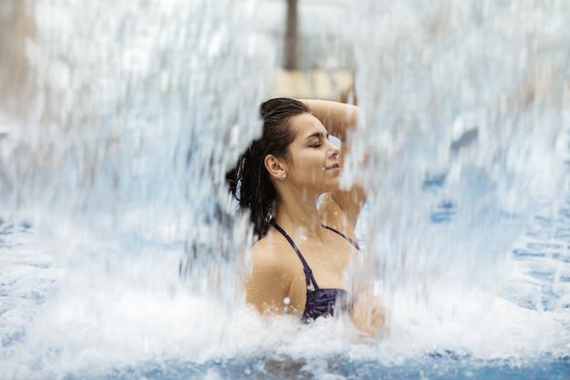 Enjoying the splashing water