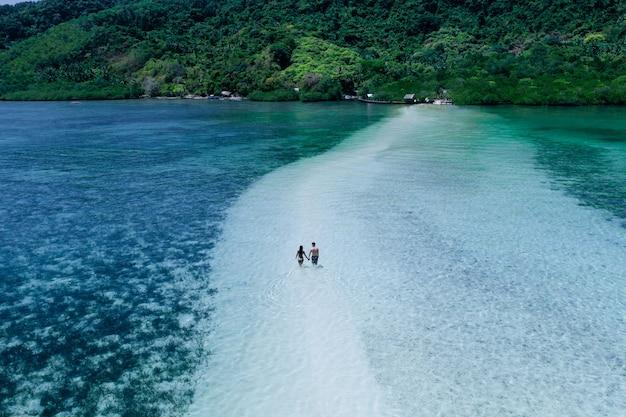 해변에서 시간을 즐기고 있습니다. 열 대 정글과 하얀 모래에 걷는 사람들. 여행과 자연에 대한 개념