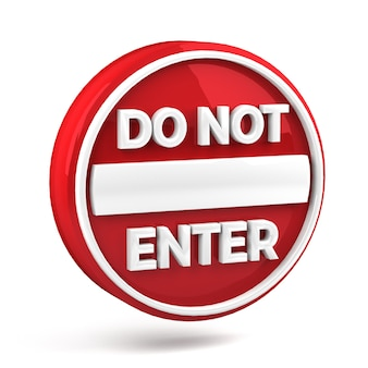 Do not enter icon red glossy isolated on white background. 3d render.