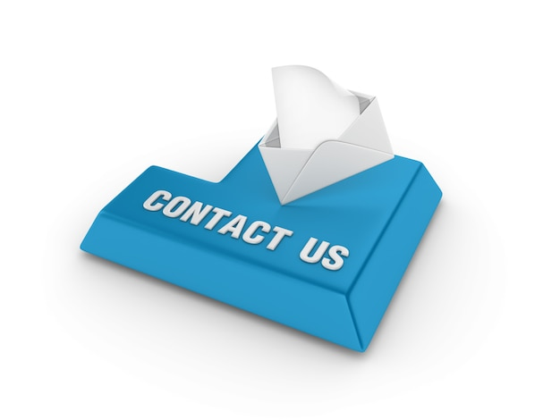 Enter key with envelope and contact us words