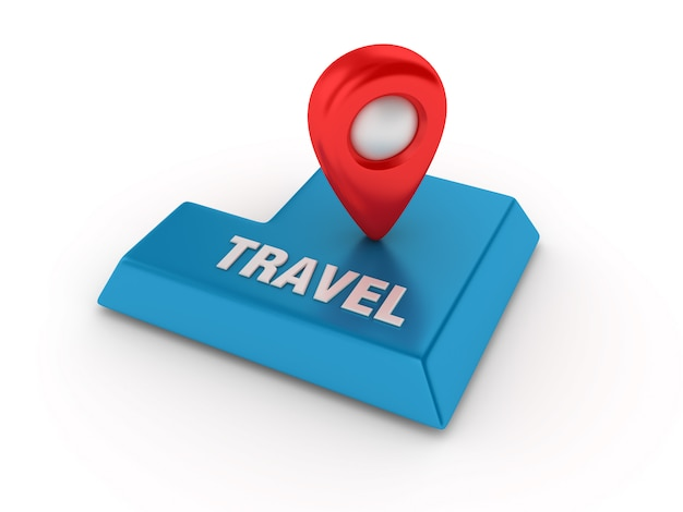 Enter key with gps marker and travel word