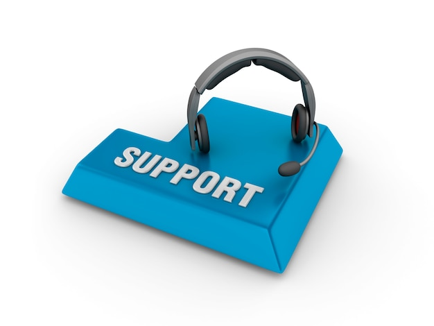 Enter key with headset and support word