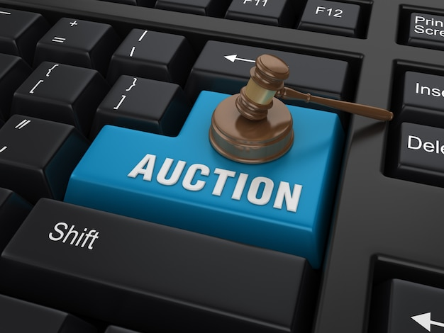 Enter key with legal gavel and auction word