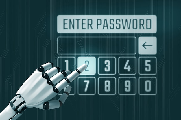 Enter password concept with robot