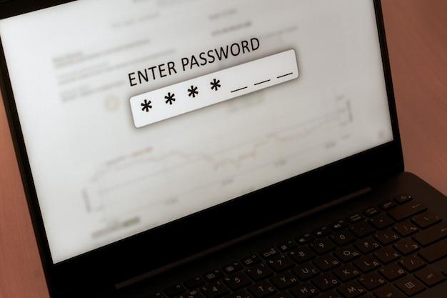 Enter password input field on laptop screen