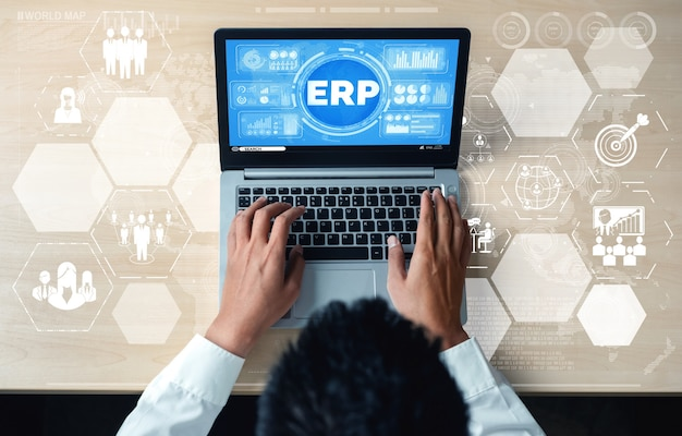 Enterprise resource management erp software system for business resources plan