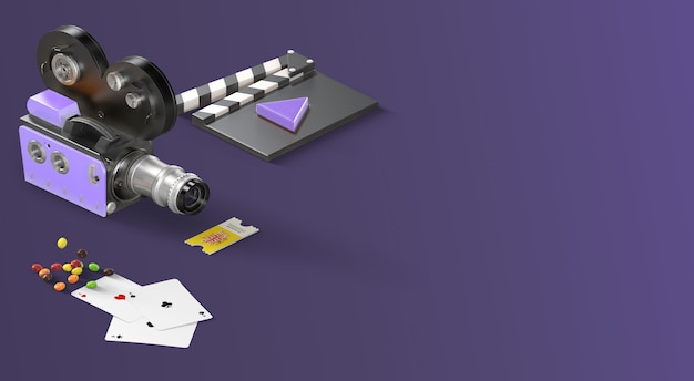 Entertainment movie banner with flatlay items from side perspective in purple colors