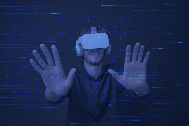 Tecnologia di intrattenimento vr sfondo in linee di circuito blu remixati media