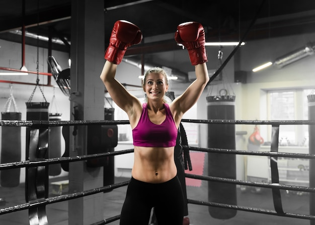 Enthusiast woman training for a boxing competition