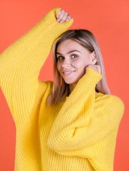 Enthusiastic woman posing medium shot