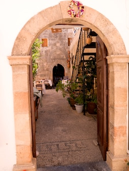 Entrance archway in rhodes greece