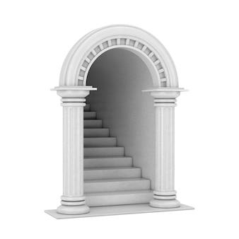 Вход классическая древнегреческая арка колонны с бетонной лестницей на белом фоне. 3d рендеринг