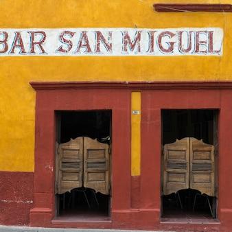 Entrance doors of a bar, zona centro, san miguel de allende, guanajuato, mexico