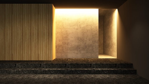 Entrance empty space 3d rendering - decorative wall