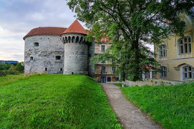 タリンエストニアの中世の壁のそばの入り口の門。