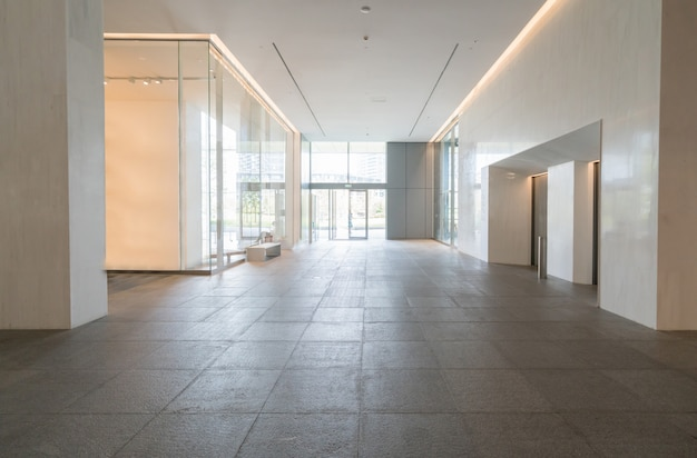 Entrance hall and empty floor tile, interior space