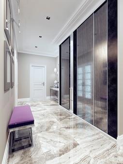 Прихожая в современном стиле. вдохновение для входа в современный коридор с бежевыми стенами, полами из светлой полированной мраморной плитки и единственной входной дверью. 3d визуализация