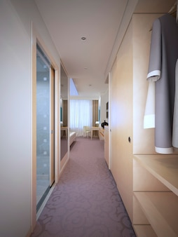 비싼 호텔 방 입구. 3d 렌더링