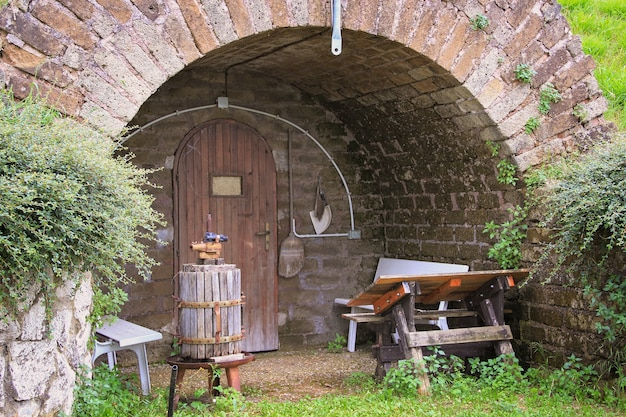 Entrance to an old italian wine cellar