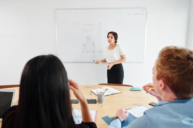 Entrepreneur explaining sales