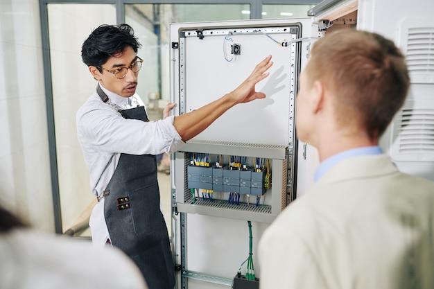 Предприниматель, показывая электрический корпус инспекторам