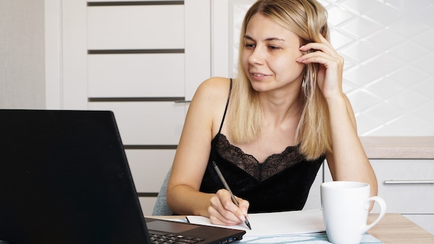 Entrepreneur or student working or studying at home