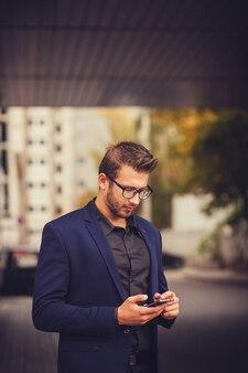 Entrepreneur uses phone mobile smart