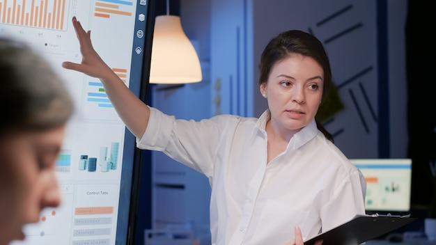 Entrepreneur woman explaining management company statistics using presentation monitor
