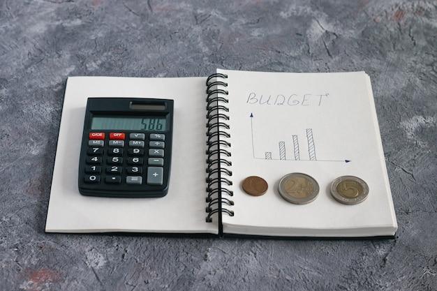 아파트, 자동차 및 교육을위한 돈을 축적하기위한 가족 예산의 수입과 지출을 계산하기위한 노트북의 항목