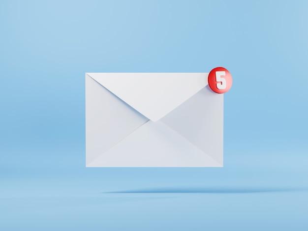 封筒3d電子メールアイコンと5つのメッセージ通知3dレンダリングの図