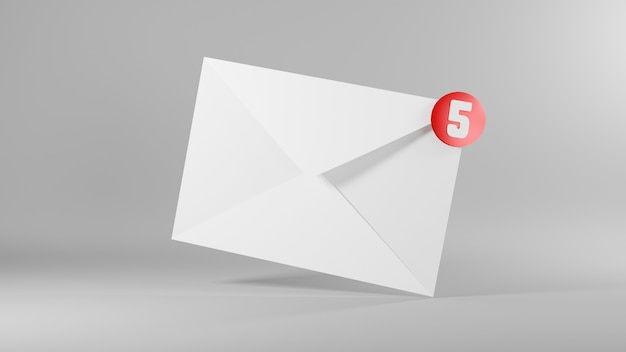 Envelope 3d email icon and five messages notification 3d rendering illustration