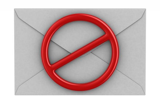 Конверт и красный запретный знак на белом. изолированные 3d иллюстрации