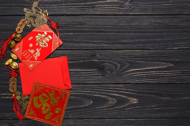 Envelope and chinese decorations