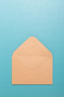Envelope empty on blue blackground.
