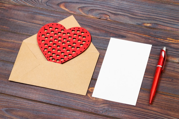 Envelope or letter, red hearts and notes