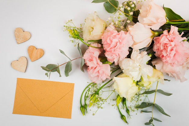 Envelope mock-up with flowers