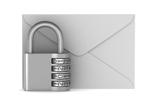 Envelope and padlock. isolated 3d rendering