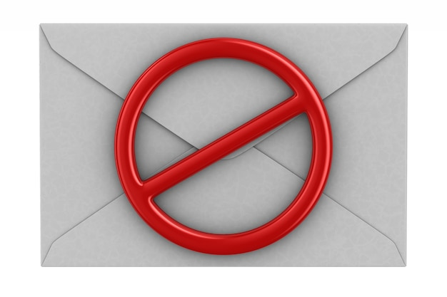 Envelope and red forbidden sign on white. isolated 3d illustration